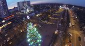 MOSCOW, RUSSIA - DEC 27, 2013: (aerial view) Christmas tree in Sokolniki district. In central square
