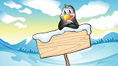 Illustration of a penguin leaning above the empty wooden signboard