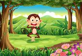 Illustration of a playful wild monkey at the forest