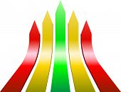 3D varicolored ascending arrows. Leadership and competition business concept. For eps file look id:32501293