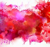 Bright watercolor stains with red blots