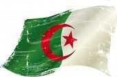 foto of algiers  - flag of Algeria in the wind with a texture - JPG
