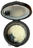 stock photo of food preparation tools equipment  - Top View Used Rice Cooker with White Rice - JPG