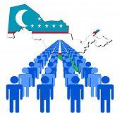 Lines of people with Uzbekistan map flag illustration