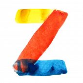 Letter Z - colorful watercolor alphabet
