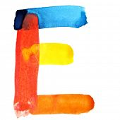 Letter E - colorful watercolor alphabet