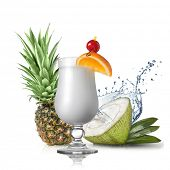 pina colada cocktail in front of pineapple and coconut isolated on white