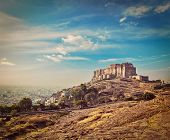 pic of mughal  - Vintage retro hipster style travel image of Mehrangarh Fort - JPG
