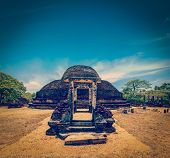 Vintage retro hipster style travel image of ancient Buddhist dagoba (stupe) Pabula Vihara. Ancient c