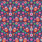 Seamless russian doll matryoshka illustration folklore flowers background pattern in vector