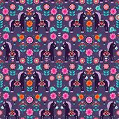 Seamless Matryoshka folklore pony illustration retro horse pattern background in vector