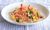 foto of glass noodles  - Stir Fried Glass Noodle or Noodles vermicelli with Fresh Shrimp prawn and Tofu in Thai Style Traditional Thai Food or Food Street in Thailand.