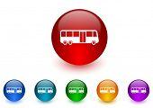 bus internet icons colorful set