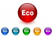 eco internet icons colorful set