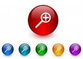 lens internet icons colorful set