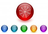 spider web internet icons colorful set