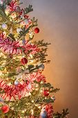 Closeup of a decorated Christmas tree