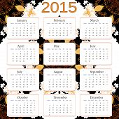2015 calendar with abstract background. Free font used, week starts with monday.