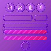 Violet game UI elements - vector buttons and bars for mobile development