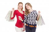 Friends with shopping bags isolated on white