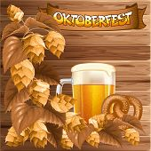 Oktoberfest celebration vector background with beer mug, hops and pretzel