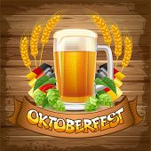 Oktoberfest celebration vector background with beer mug, hops and wheat