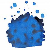 Abstract Blue Watercolor Background With Brush Stroke