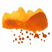 Abstract Orange Watercolor Background With Brush Stroke