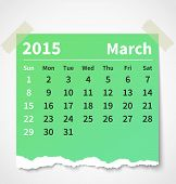 Calendar march 2015 colorful torn paper