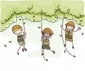 Illustration Featuring Kids in Safari Outfits Swinging from Tree to Tree