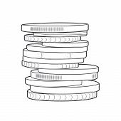 Coins Stacks Isolated On A White Background. Line Art. Retro Design. Vector Illustration.