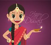 Vector Indian Girl Holding Pelita Oil Lamp Celebrating Deepavali - Happy Diwali
