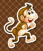 Illustration of a single monkey with background