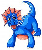 Illustration of a closeup blue dragon