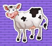 illustration of a single cow with a background