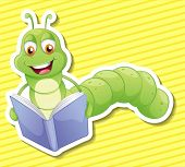 image of bookworm  - Illustration of a bookworm with background - JPG