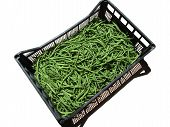 Green Beans In Box On White Background
