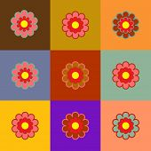 Multicolors Backgrounds Flower Square Shapes