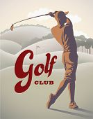 Golf player is doing a swing on the field. Raster illustration.
