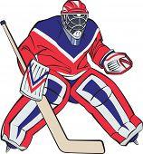 Ice hockey goalkeeper in action. Raster illustration.