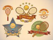 Set of vintage styled tennis tournament labels. Raster illustration.