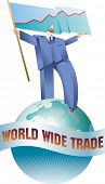 Giant business man is walking across the globe with a flag of sales graph. Raster illustration.