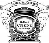 Vintage styled traditional cuisine label. Raster illustration.