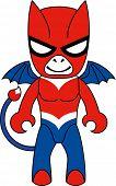 Toy red devil character. Raster illustration.