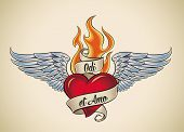 Old-school styled tattoo of a flaming heart with blue wings. The motto Odi et Amo means I hate and I