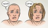 Young woman is scared with something. Face expression study. Raster illustration in comics style.