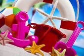 Assortment of children's beach toys