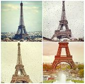 Four High Quality Photos Of Eiffel Tower In Paris, France. Instagram Effect.