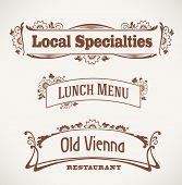 Set of vintage styled restaurant labels. Raster illustration.