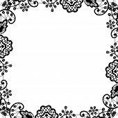 black lace on white background